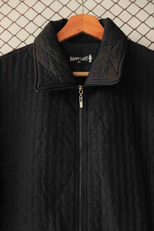 Black Textured Puffer Jacket (Brand: Happy Lady)