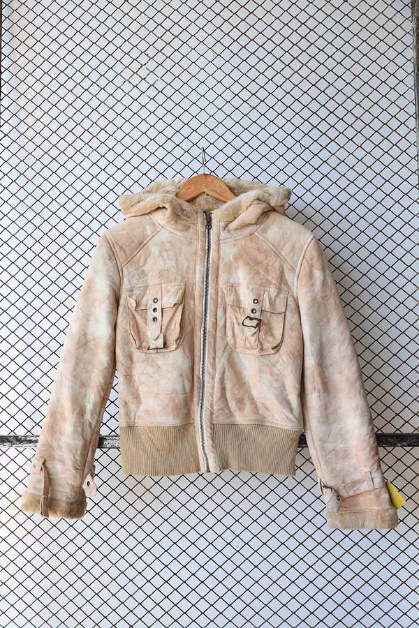 Beige Fleece Tie Dye Jacket with Fur Hood