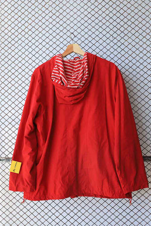 Red Grunge Striped Detail Raincoat