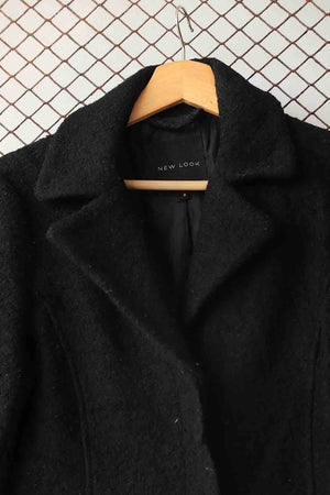 Black Smart Wool Collar Coat