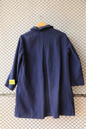 Blue Textured Long Coat (Brand: United Colour)