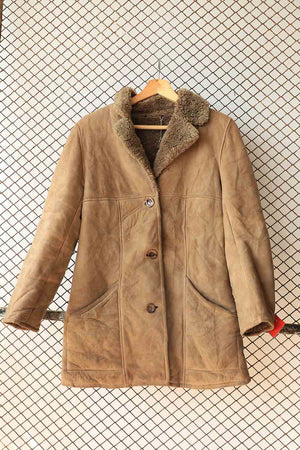 Brown Camel Suede Fur Collar Coat