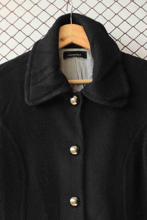 Black Wool Coat with Tarnished Buttons