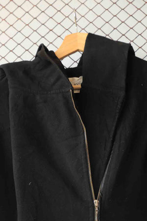 Black Zipper Down Wool Coat