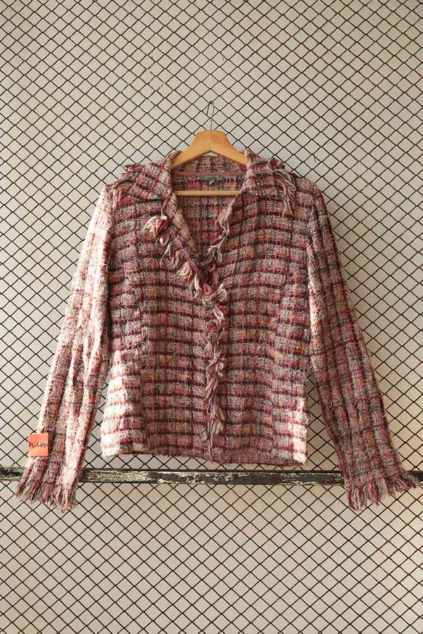 Pink Tweed and Fray Short Blazer