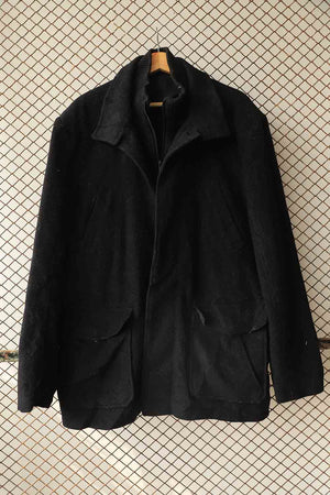 Black Wool Double Layered Coat