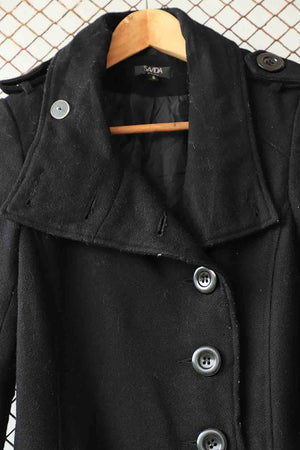 Black Coat with Lapel Jacket with Tie Waist