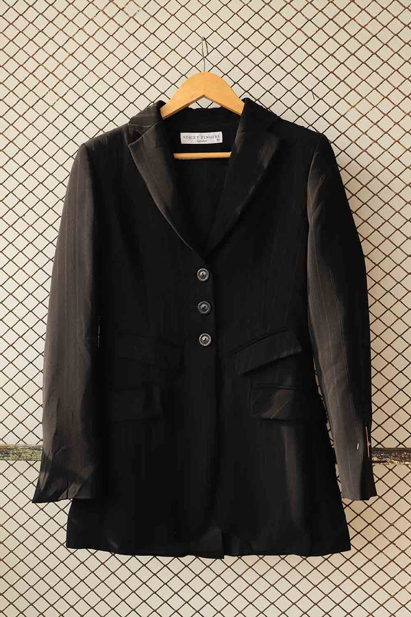 Black Pin Striped Blazer Coat (Brand: Sticky Fingers)