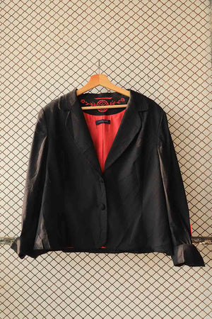 Black Blazer Shirt with Red Lining