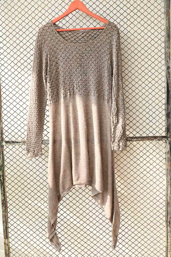 Brown Textured Sweater Dress