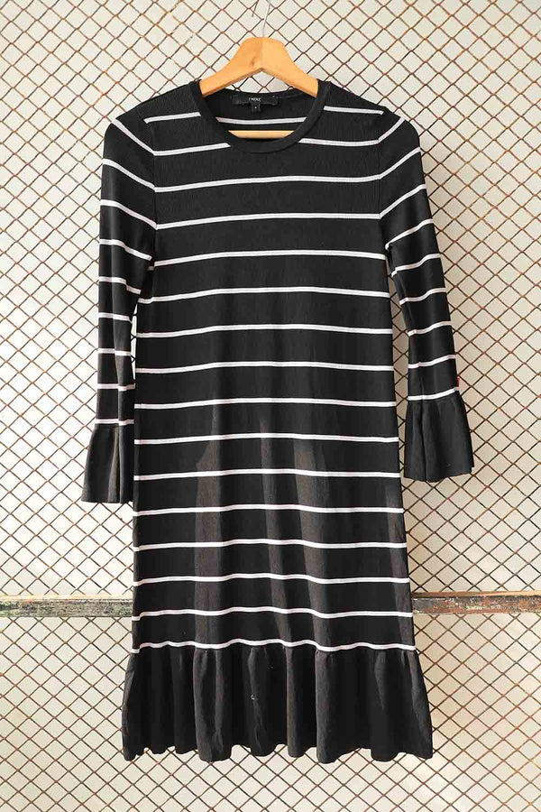 Black and White Knitted Striped Flare Dress