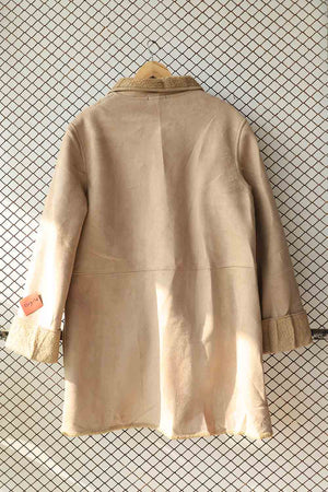 Beige Coat with Fleece Detail Collar