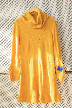 Mustard Yellow High Neck Knit Dress