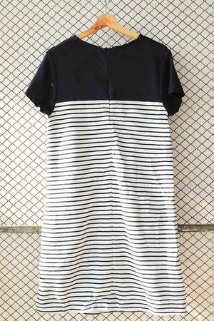 Black Striped Knit Dress With Pockets