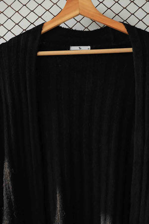 Black Long Ribbed Sweater