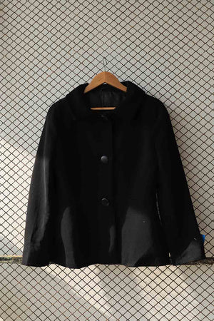 Black Short Statement Button Coat (Brand: HOBBS)