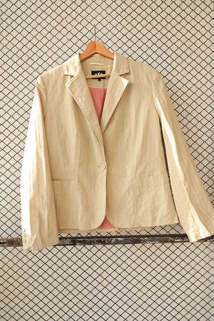 Beige Self Striped Blazer