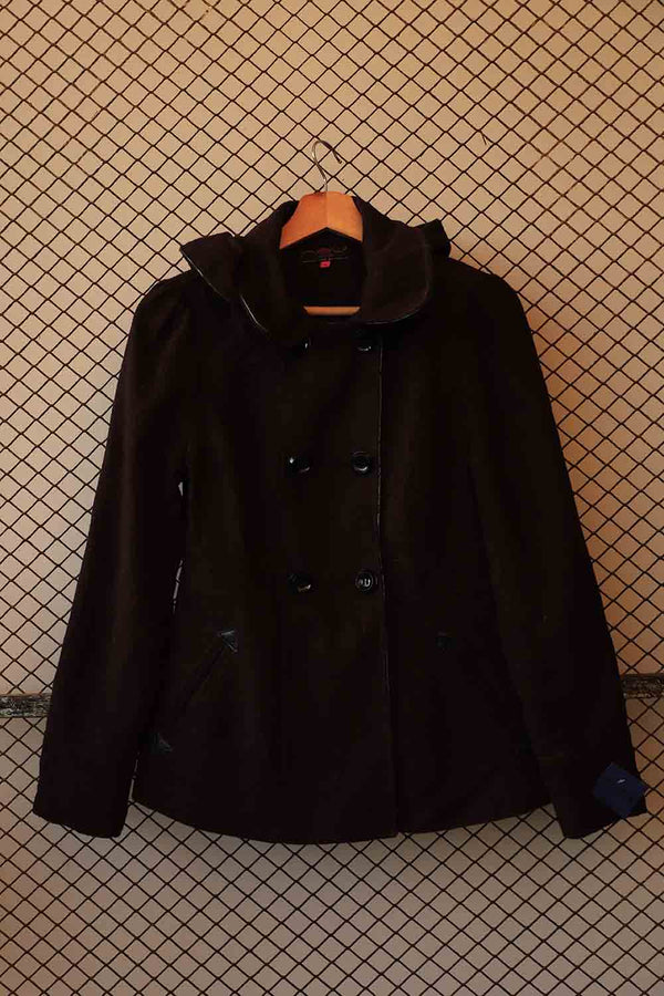Black Double Breasted Wool Coat (Brand: New Look)