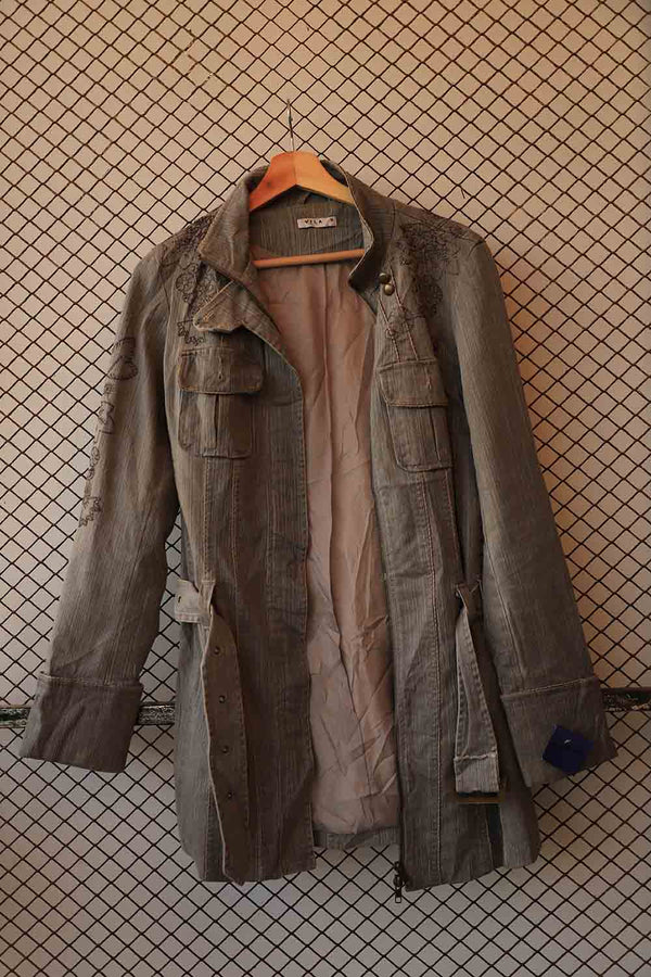 Grunge Denim Camo Coat (Brand: Vila)