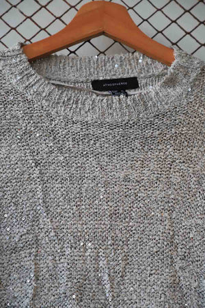 Light Grey Glitter Knit Sweater (Brand: Atmosphere)