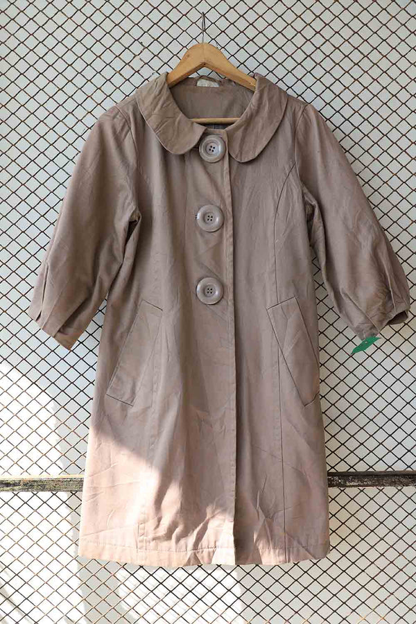 Grey Peter Pan Collar Coat (Brand: Atmosphere)