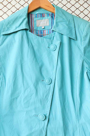 Turquoise Blue Asymetrical Coat ( Brand :  Peruna )