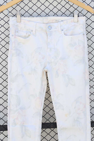 Faded Pastel Print White Jeans