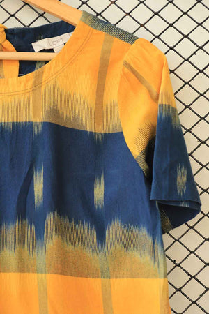 Yellow and Blue Cotton Tie & Dye Fashion Top