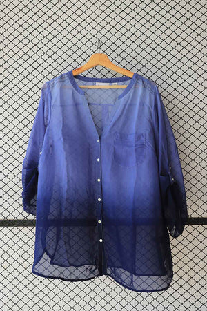 Sheer Silk Chiffon Shades of Blue Blouse  (Brand:  Avenue )