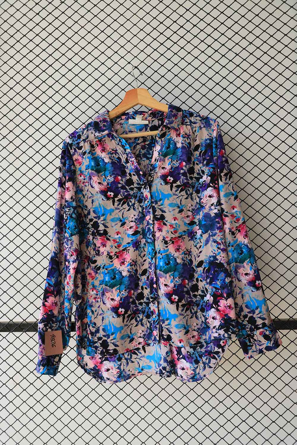 Shades of Blue Sill Floral Button Down  (Brand:  Dana buchman )