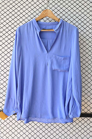 Powder Blue Crepe Silk Classic Top  (Brand:  Zara )