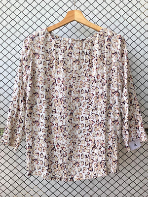 Linen Watercolour Floral Summer Top