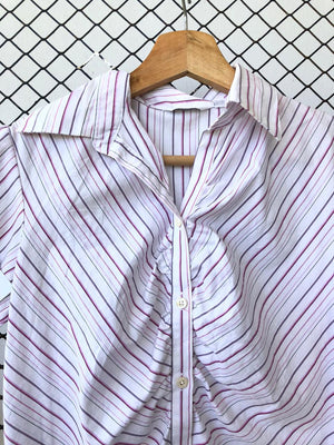 Striped Cap Sleeve Button Down Office Top