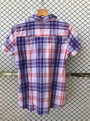Purple Technicolor Short Sleeved Checkered Shirt (Brand Name: L.O.G.G label of brand goods (H&M))