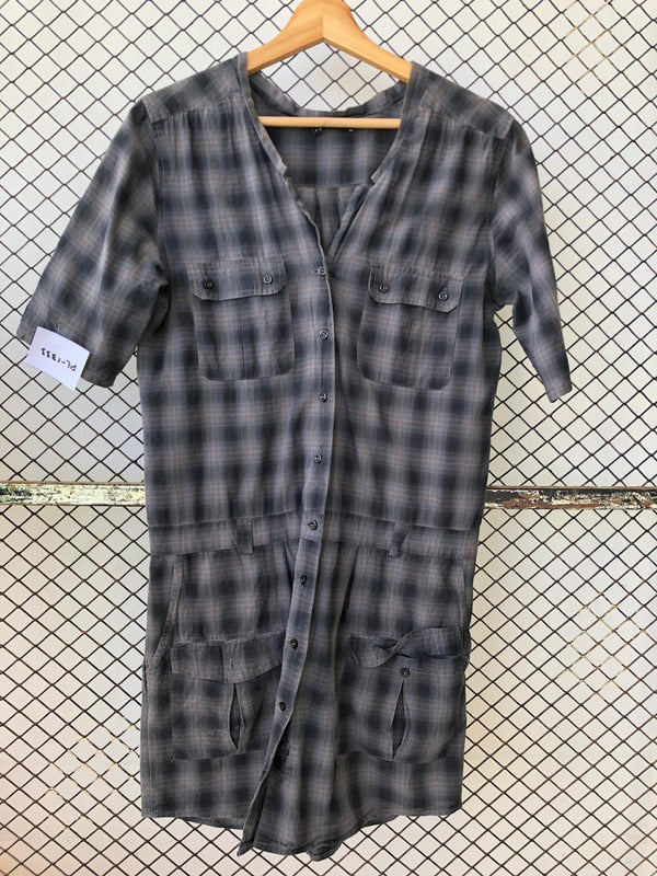 Checkered Gothic Shirt Dress (Brand: Kooples)