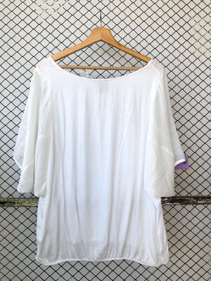 White Linen and Chiffon Blouse