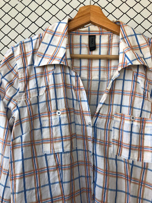 Checkered Orange Blue and White Button Down