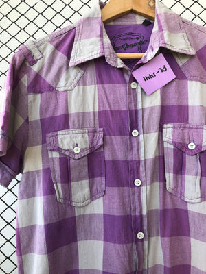 Purple and Grey Checkered Button Down (Brand: ClockHouse)