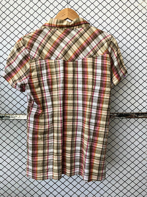 Earthy Toned Checkered Short Sleeved Shirt