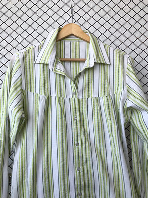 Lime Green and White Cotton Summer Button Down