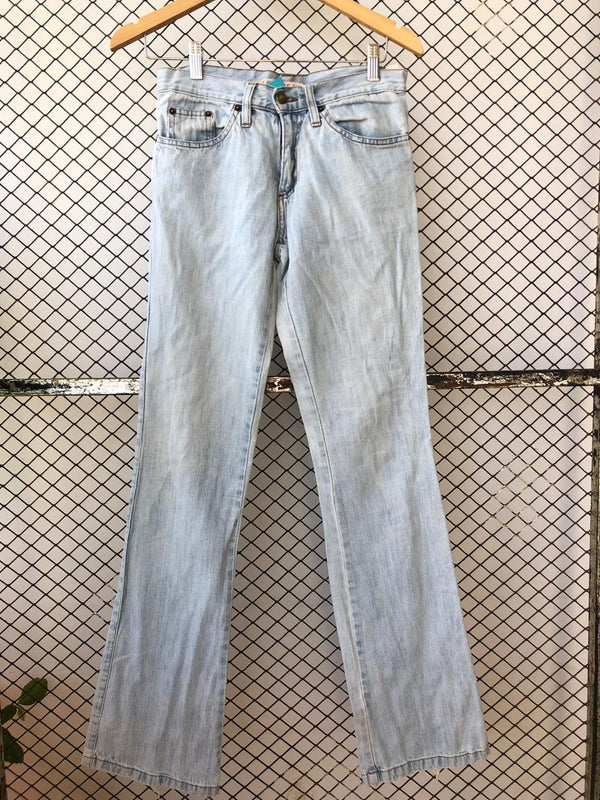 Light Blue Faded Denim Frayed Bootcut Jeans (Brand: TRF)