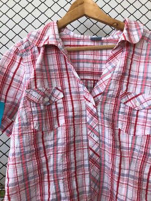 Pink and White Checkered Short Sleeve Button Down (Brand: Ocealis)