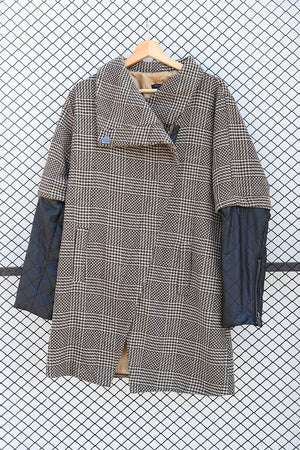Tribal Tweed and Leather Sleeve Coat  (Brand: Stella)