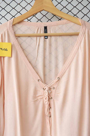 Pink Lace up Cotton Blouse
