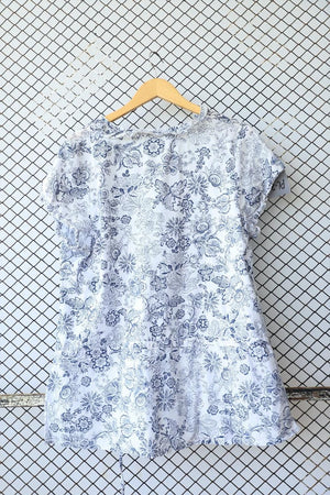 Blue and White Floral Summer Print Blouse