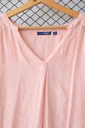 Pink Polka Dotted Fashion Blouse