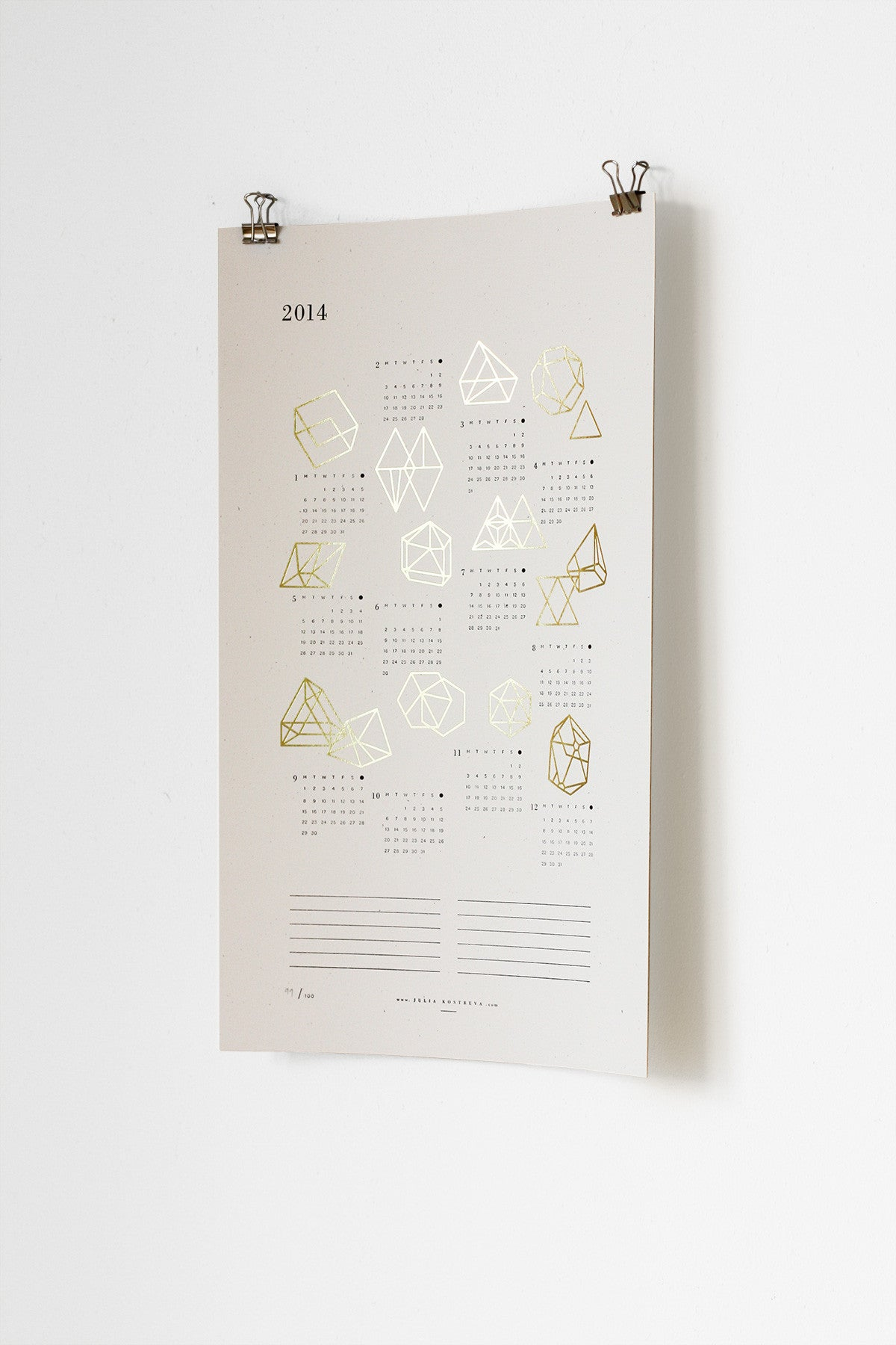 2015 Prisms Calendar - Letterpress and Gold Foil