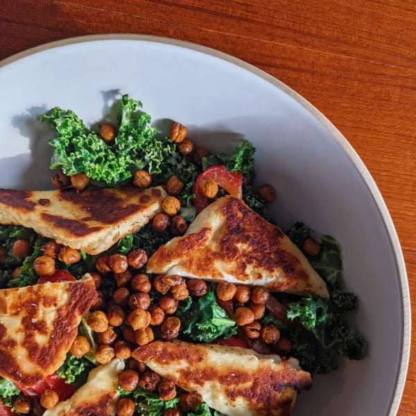 Kale, Halloumi and Chickpea Salad