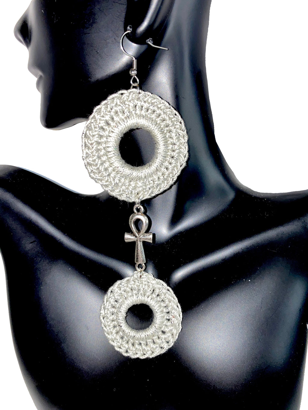Silver Crochet Earrings w/Ankh Charm