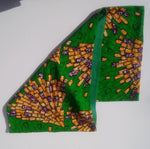 Wax Print Flannel Lined Infinity Scarf (green gold and purple w/green lining)
